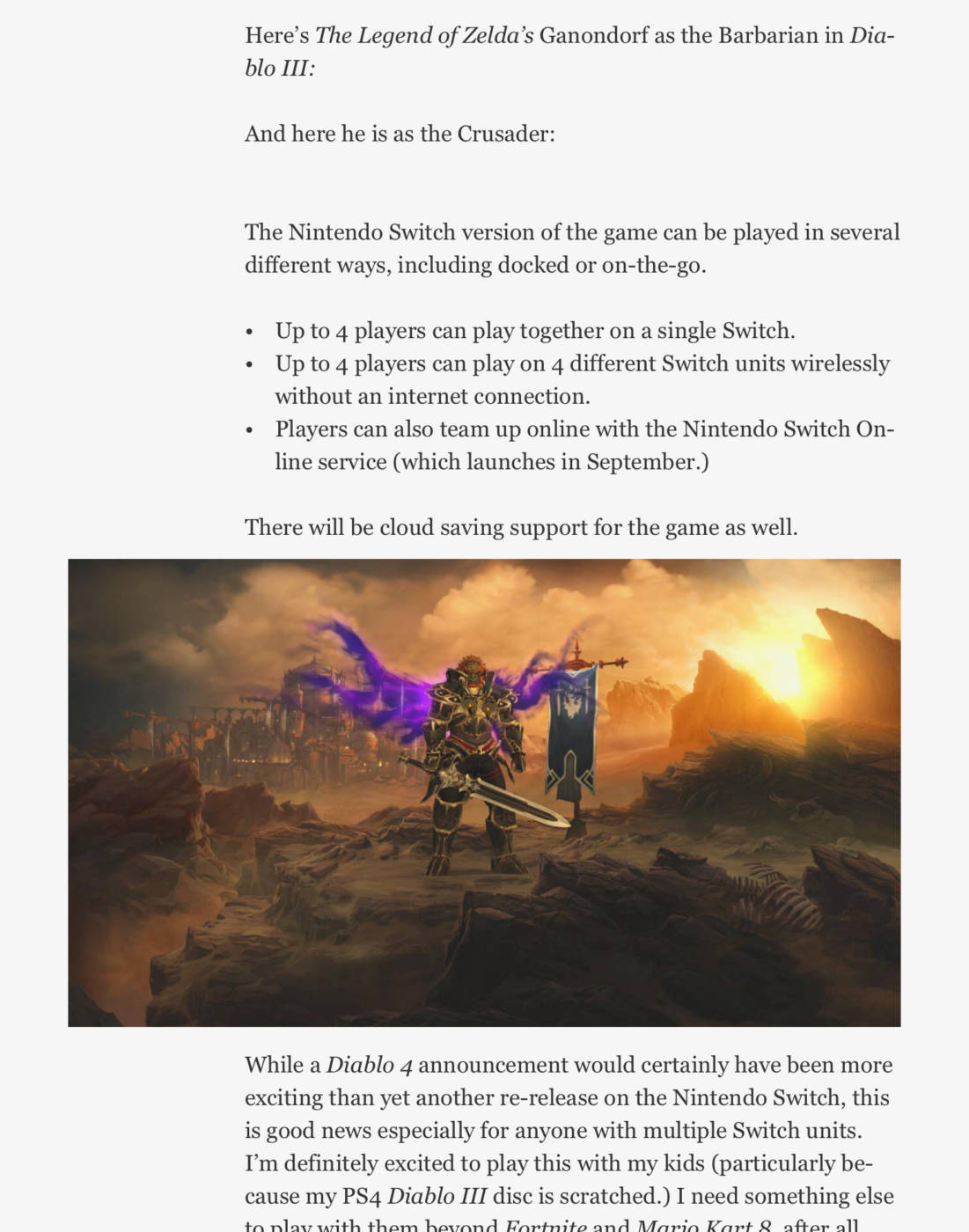 Leak Diablo 3 Nintendo Switch