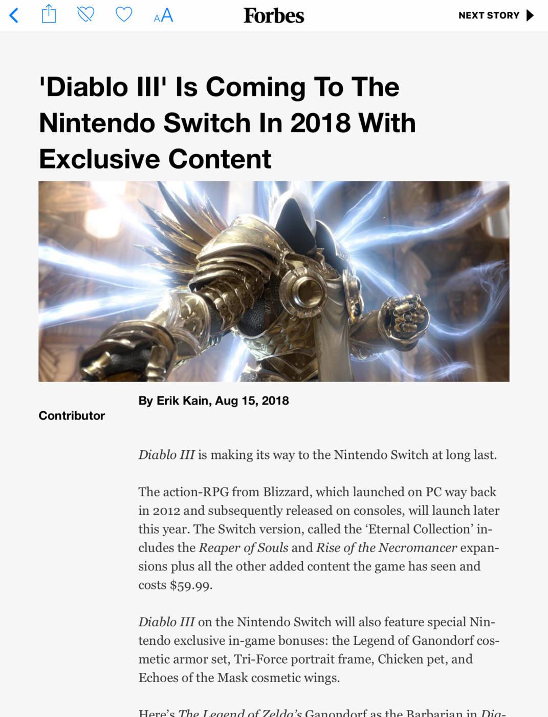 Leak Diablo 3 Nintendo Switch