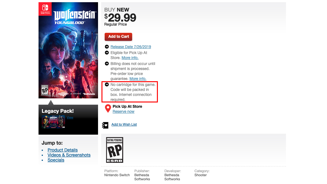 Cartouche Wolfenstein Switch Gamestop