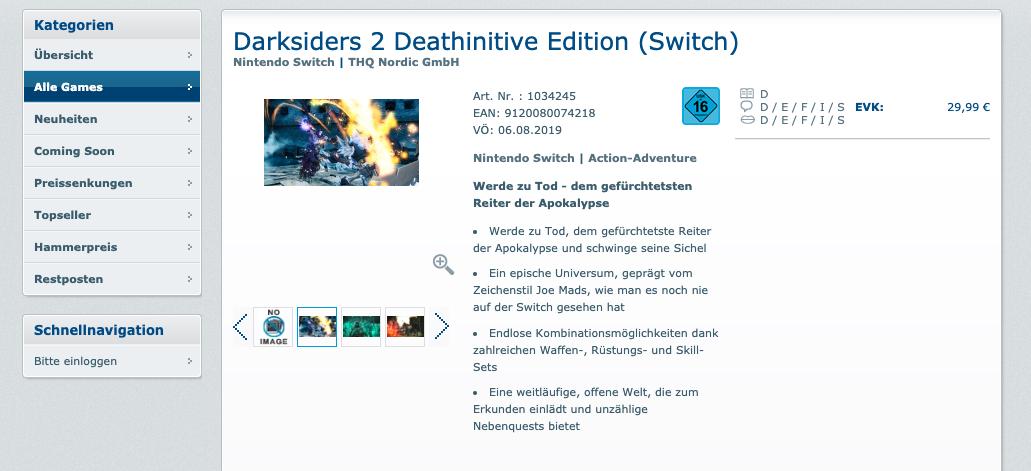 Darksiders 2 Nintendo Switch