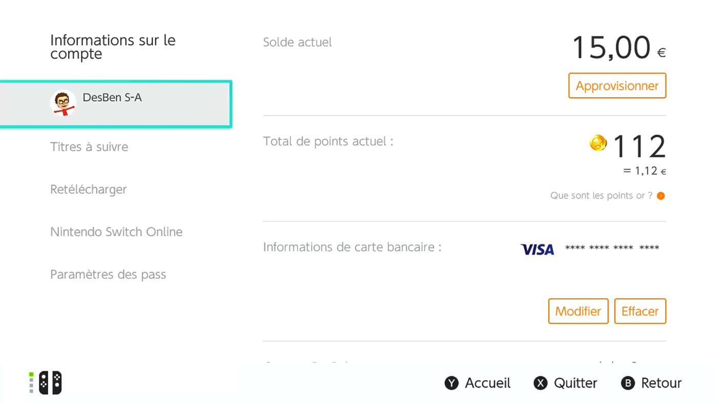 Acheter utiliser carte eShop Switch 6
