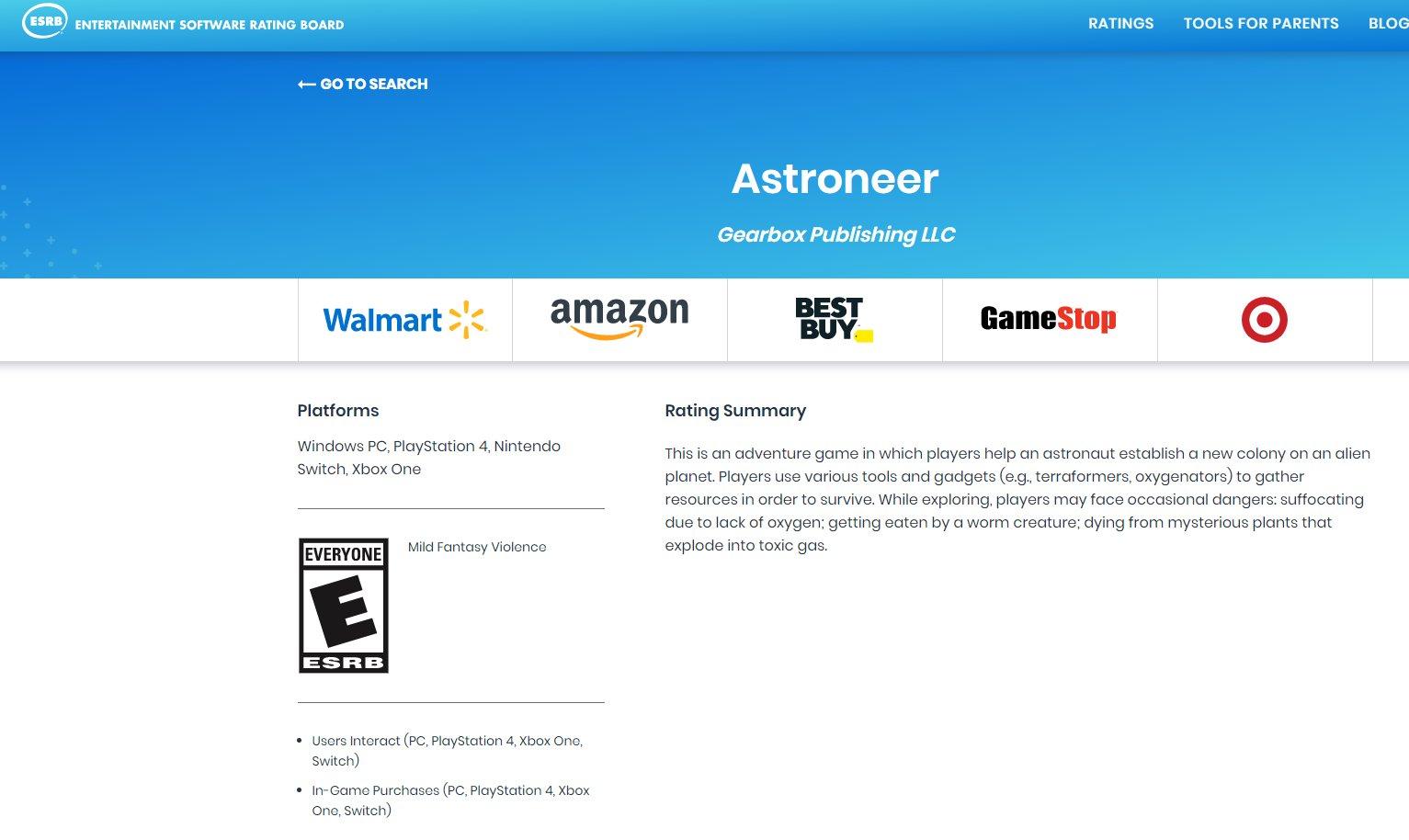 Astroneer Nintendo Switch ESRB PEGI