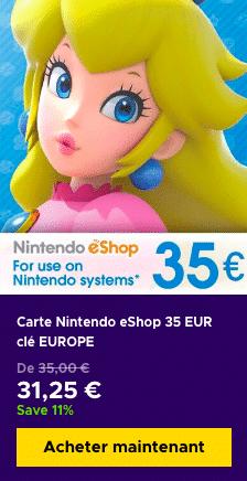 Acheter carte eShop pas cher