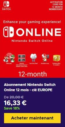 Nintendo Switch Online abonnement pas cher