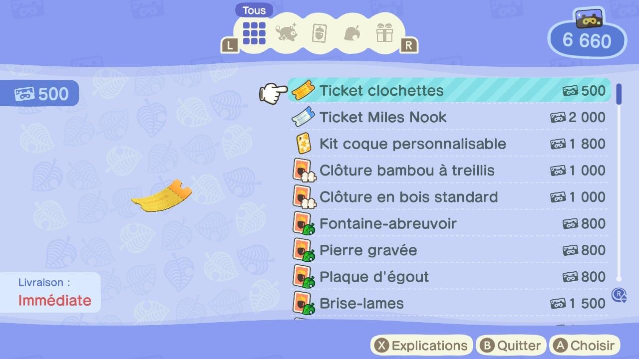 Animal Crossing Tickets Clochettes