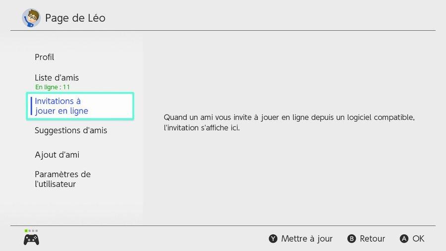 Invitations à jouer en ligne sur Nintendo Switch