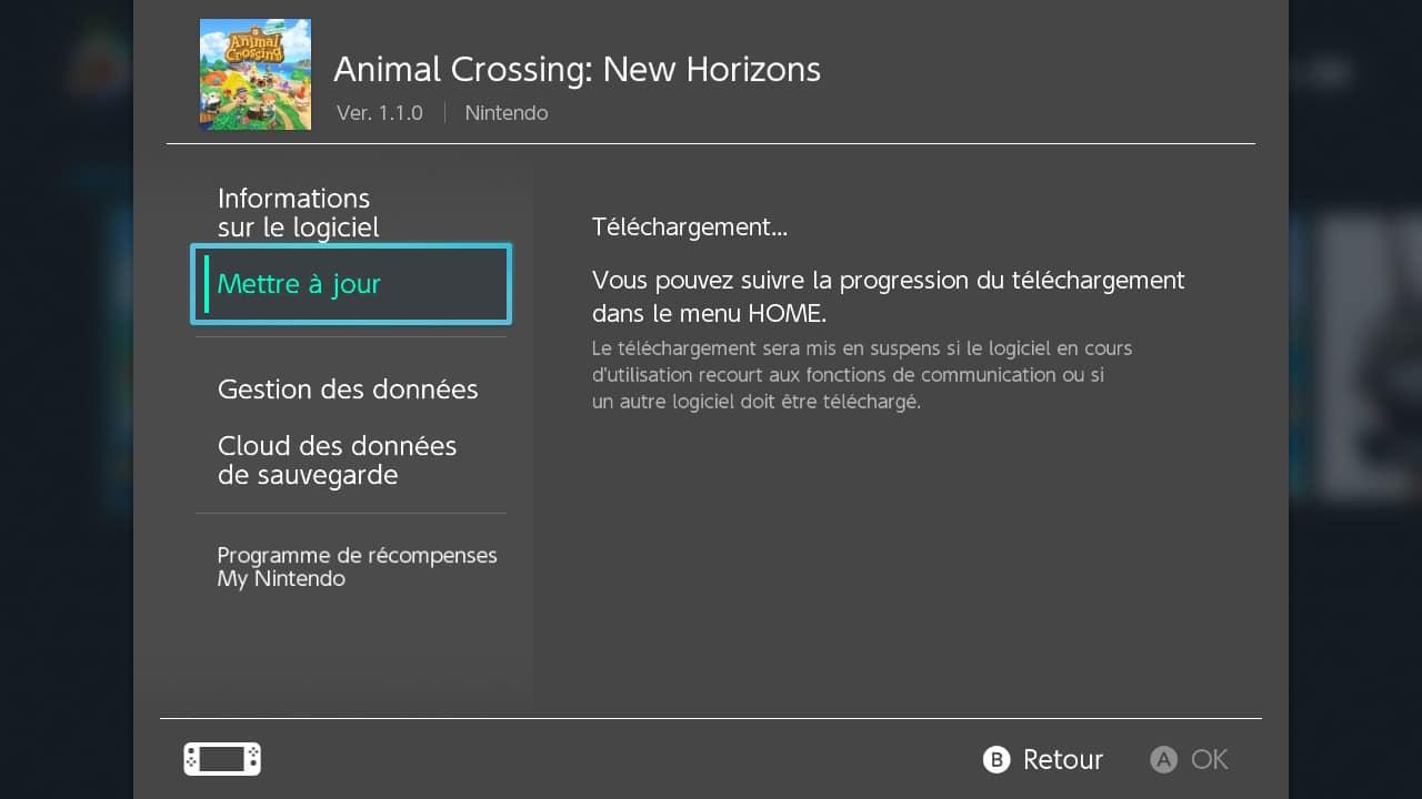 Comment faire la mise à jour d'un jeu Nintendo Switch