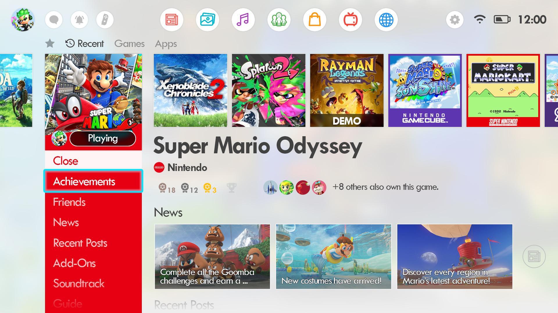 Menu Nintendo Switch customisé