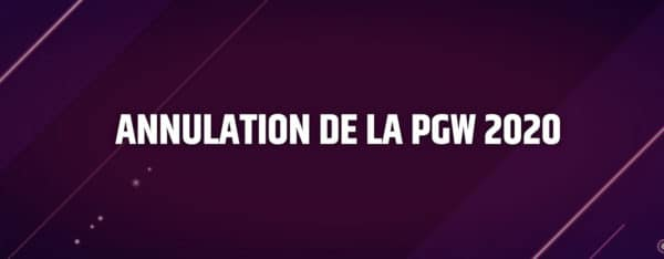 Annulation Paris Games Week 2020