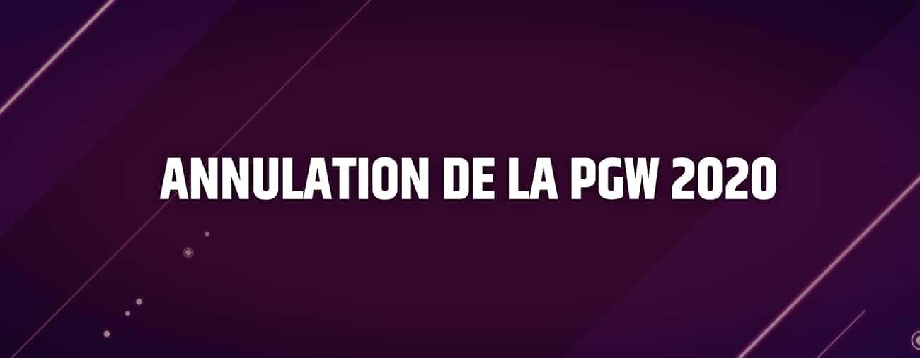 Annulation Paris Games Week 2020