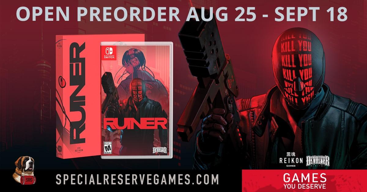 La version physique de Ruiner sur Switch par Special Reserve Games