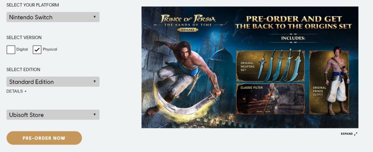 prince of persia les sables du temps remake switch précommande