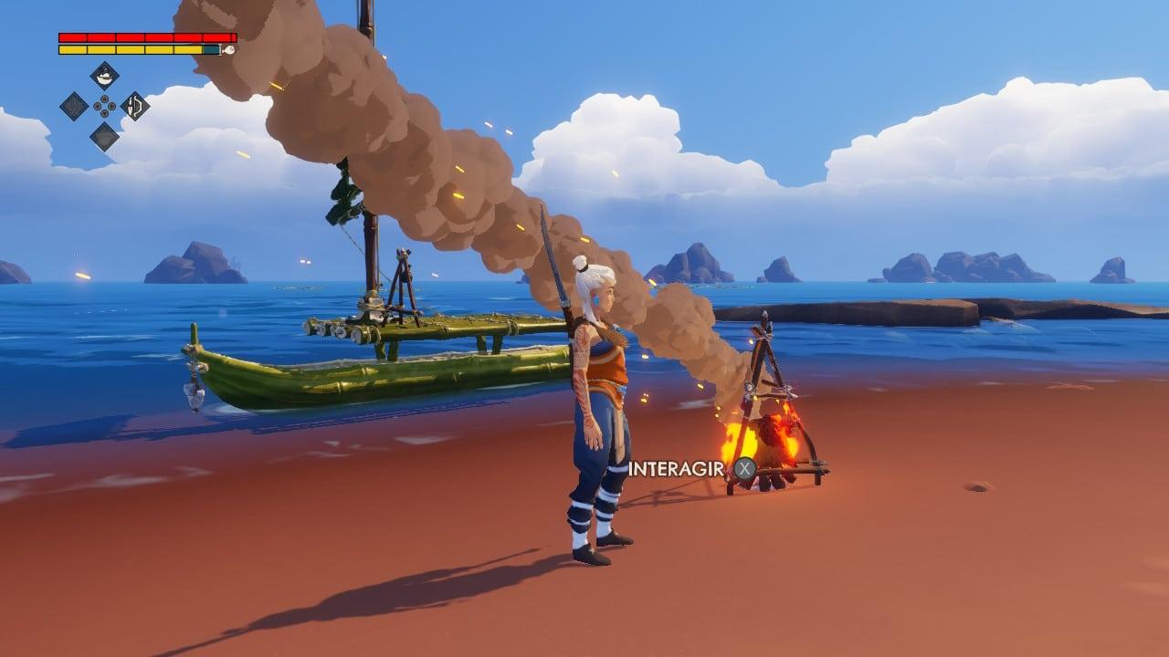 Windbound : feu de camp.
