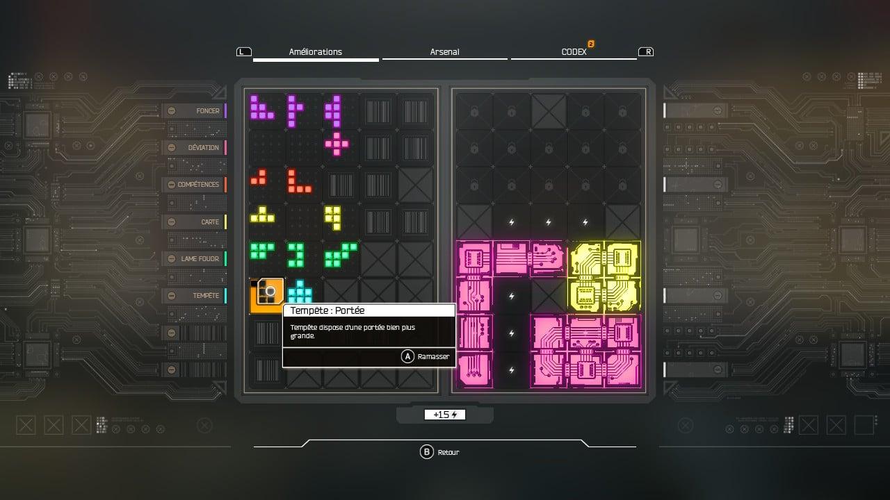 Un menu d'amélioration en mode Tetris : étrange idée.