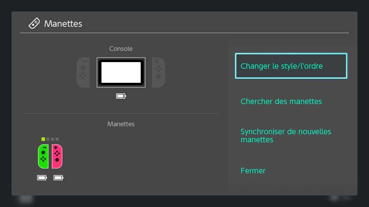 menu manette switch